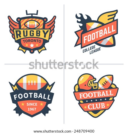 Football and rugby emblems. Vector flat  logo set - stock vector