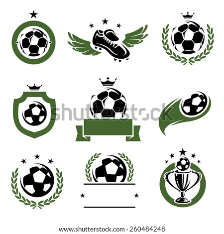 Football and soccer labels and icons set. Vector - stock vector