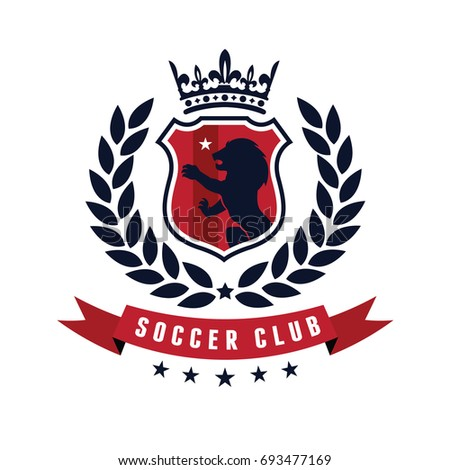 Football And Soccer Logo Design Template With Lion And Crests Symbol.
