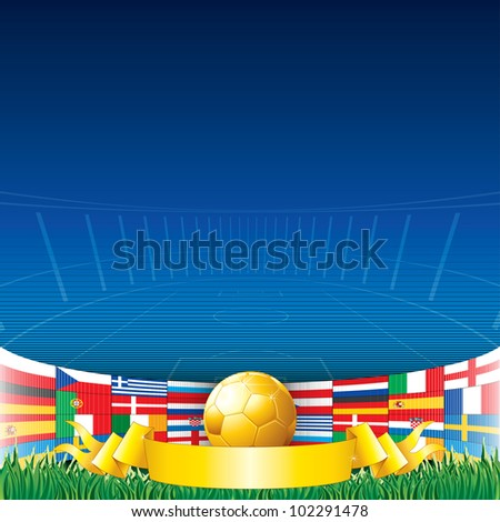 Football Background. Euro 2012 Championship Flags and Golden Soccer Cup. - stock vector