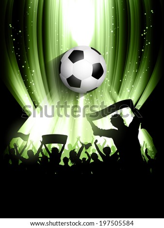 Football background with a silhouette of a crowd of supporters