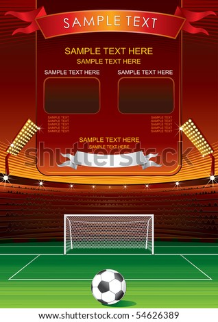 Football background with empty  stadium scoreboard for your own match scores or text - stock vector