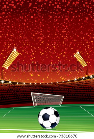 Football Background with Large Soccer Stadium. Vector Illustration with Space for your Text - stock vector