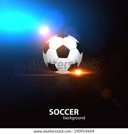 Football background with soccer ball, blurred bokeh lights and place for text.  - stock vector