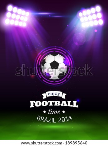 Football background with soccer ball, green field, spotlights, abstract stadium and place for text. - stock vector