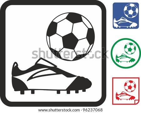 Football ball and boots.  Soccer vector icon - stock vector