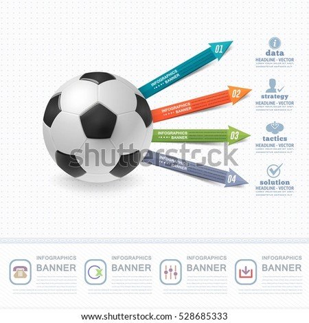 Football Ball Infographics Design and Sports Web Banner, Soccer Stats Elements, Realistic Sport Vector Background