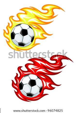Football balls in yellow and red fire flames. Jpeg version also available in gallery. - stock vector