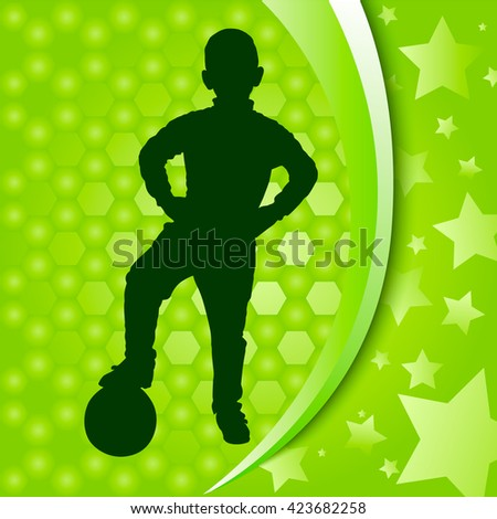 Football banner. Silhouette of boy with ball. Silver hexagons background and stars. Vector Illustration
