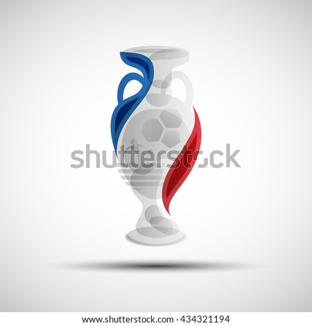 Football championship abstract cup. Soccer competition winner prize. First place abstract trophy for your design - stock vector
