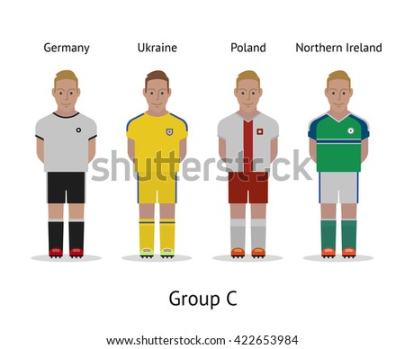 Football championship in France 2016. National soccer players kit Group C - Germany, Ukraine, Poland, Northern Ireland. Vector illustration. - stock vector