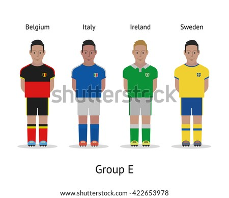 Football championship in France 2016. National soccer players kit Group F - Portugal, Iceland, Austria, Hungary. Vector illustration. - stock vector