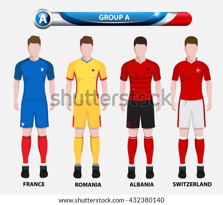 Football Championship Infographic, Soccer Players GROUP A. Football jersey. - stock vector