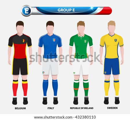 Football Championship Infographic, Soccer Players GROUP E. Football jersey. - stock vector