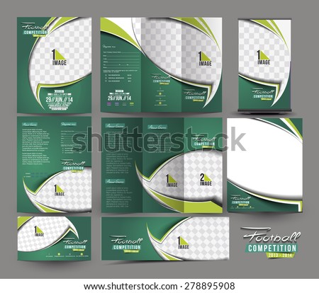 Football Club Business Stationery Set Template  - stock vector