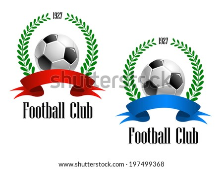 """Football Club label established in 1927 with a foliate wreath enclosing football or soccer logo ball with red and blue ribbons. Text """"Football Club"""" at the foot of the design. - stock vector"""