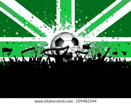 Football crowd with banners and flags on a Union Jack background
