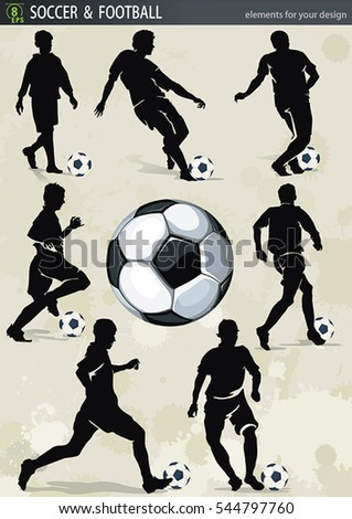 Football design elements for Web. Vector soccer ball and action player. Abstract silhouette for sport design, eps8