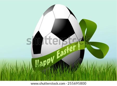 Football Easter egg - stock vector