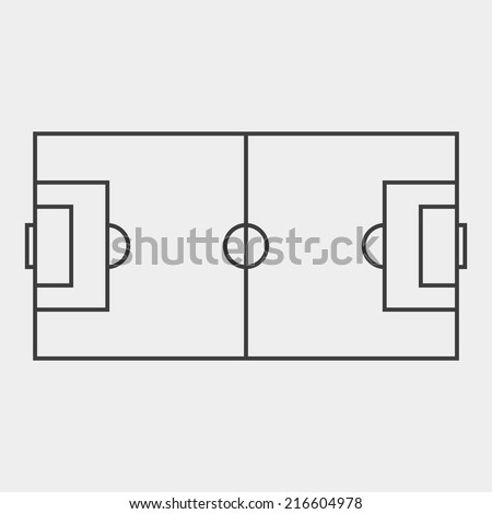 Football field. Black and white concept. Outline style. Soccer field. Use for card, poster, brochure, banner, web design, wallpaper. Easy to edit. Vector illustration - EPS10. - stock vector