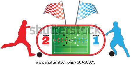 football Field, football players, sports - stock vector