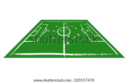 Football field in perspective. Training - stock vector