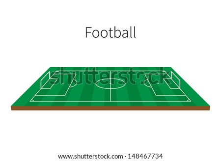Football Field, Soccer Field With Strips isolated on white background. Vector illustration.