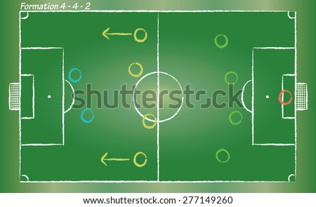 Football field. Sport vector cartoon in doodle style. Soccer strategy formation 4-2-2