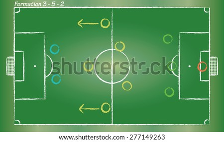 Football field. Sport vector cartoon in doodle style. Soccer strategy formation 3-5-2.