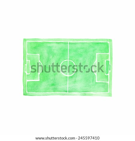 Football field. Watercolor object on the white background, aquarelle. Vector illustration. Hand-drawn decorative element useful for invitations, scrapbooking, design.  - stock vector