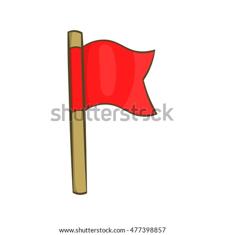Football flag icon in cartoon style isolated on white background. Sport symbol
