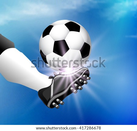 football foot hits the ball - stock vector