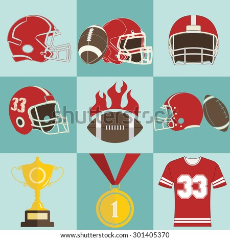 Football game sport icons vector, Football color image, Football game flat style, foot ball web icon, Foot-ball concept for design, Football vintage illustration, Football art picture