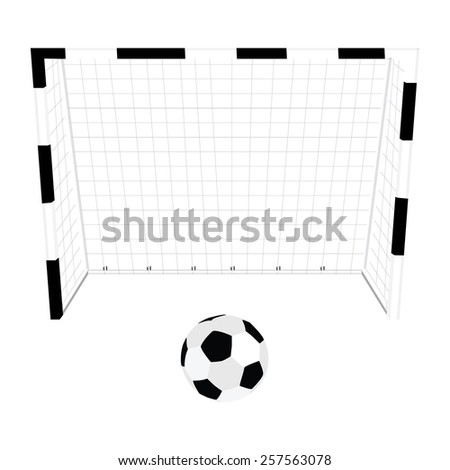 Football gate and ball, soccer gate, football net, soccer ball - stock vector