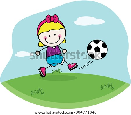 Football girl - stock vector