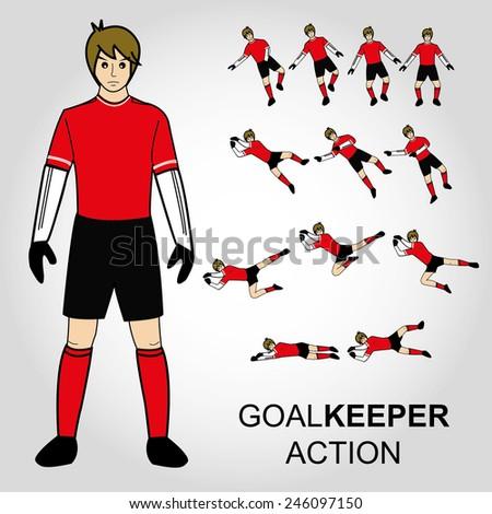 Football, Goal keeper action Vector illustration - stock vector