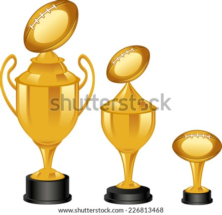 Football golden trophies illustrations