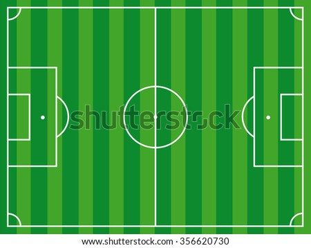 football ground aerial view, textured with green grass and sidelines - stock vector
