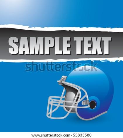 football helmet blue ripped banner - stock vector