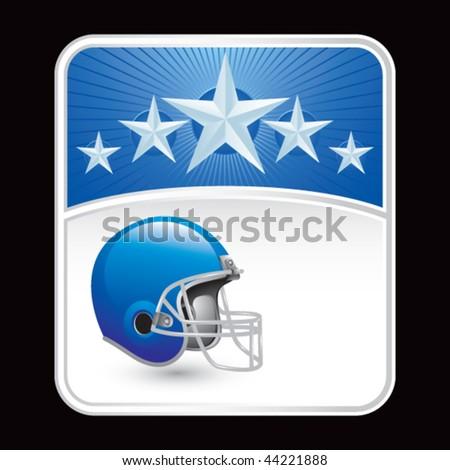 football helmet blue star backdrop - stock vector