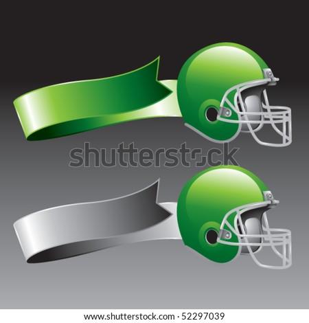 football helmet green and gray ribbons - stock vector