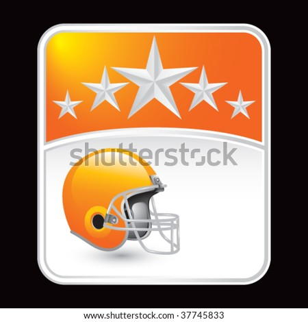 football helmet on orange star background - stock vector