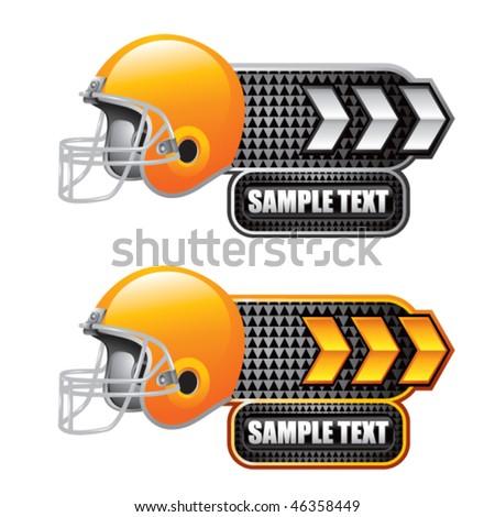 football helmet white and gold arrow nameplates - stock vector