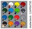 football helmets - stock vector