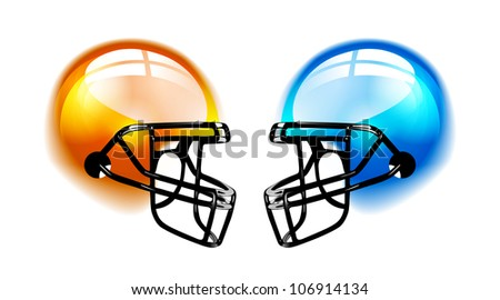 Football Helmets with reflection on white background. Vector
