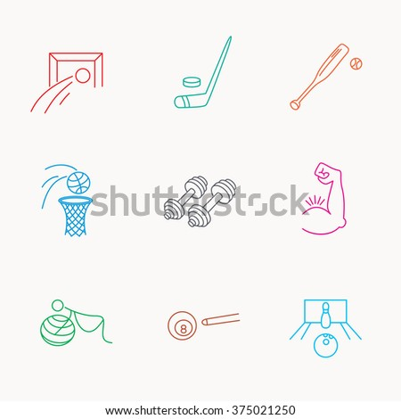 Football, ice hockey and fitness sport icons. Basketball, muscle and bowling linear signs. Billiards and gymnastics for pregnant icons. Linear colored icons. - stock vector