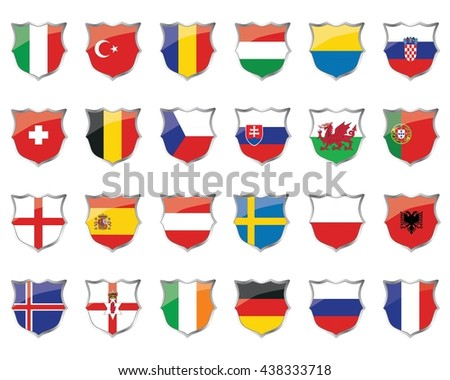 football icon flags of EURO 2016 teams,vector illustrator