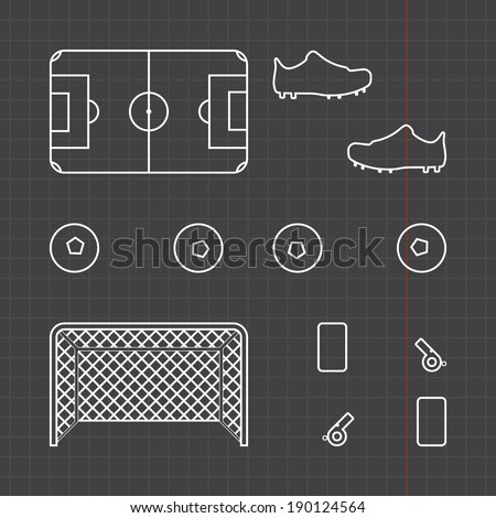 Football icons set with black sheet - stock vector