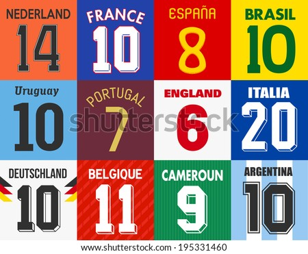 Football jersey numbers - stock vector