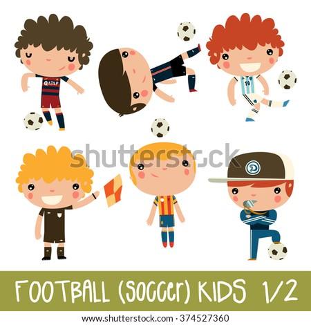 football kids. children sports set. cute flat soccer players in real team kits. Barcelona, Paris, Valencia, Argentina, Kyiv. - stock vector